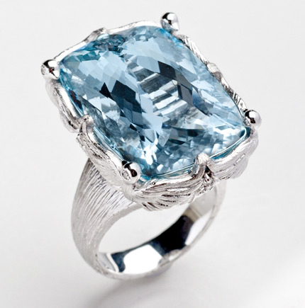 Loretta Castoro Love Doves aquamarine cocktail ring