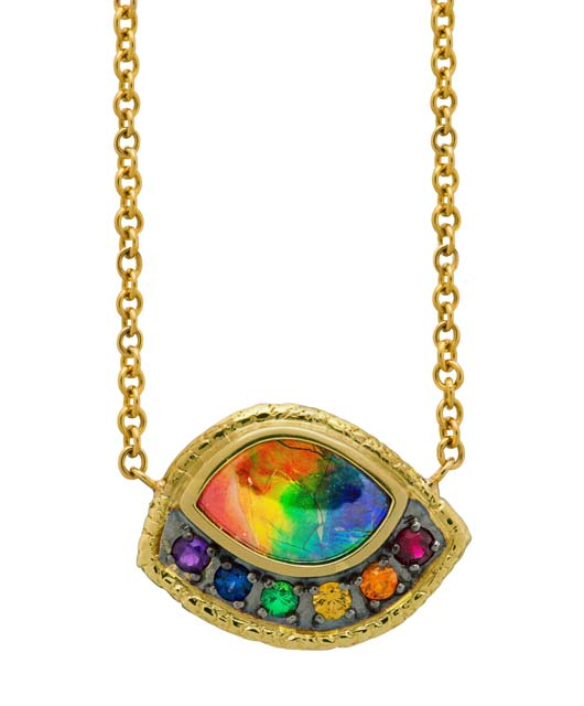 Susan Wheeler ammolite pendant necklaces with rainbow-colored gemss