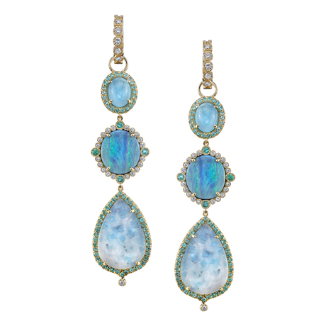 Erica Courtney opal and Paraiba earrings