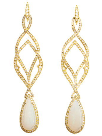 Tatiana Berenguer opal and diamond drop earrings in gold
