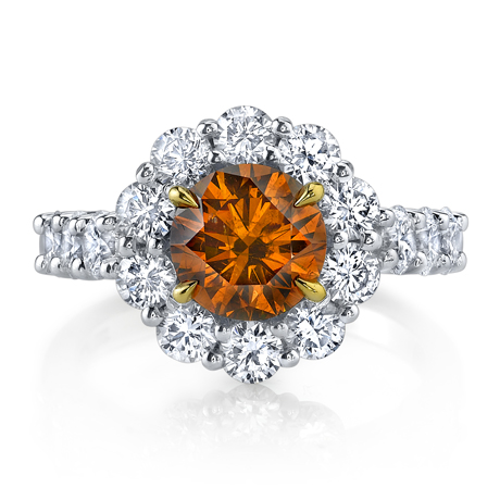 Joshua J. orange and colorless diamond ring