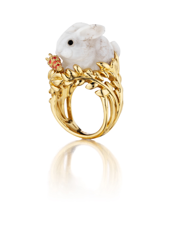 Fern opal and gold ring by Mimi So