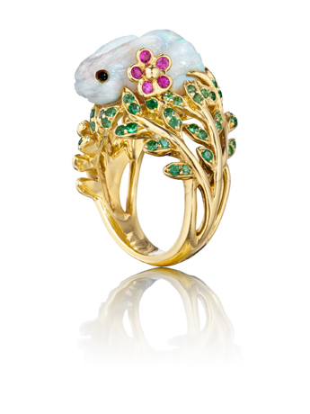 Fernita opal and gold ring by Mimi So