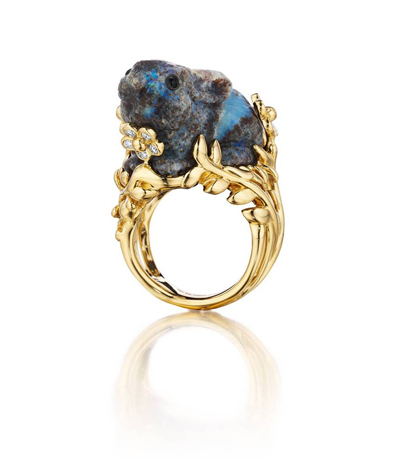 Patches opal and gold ring by Mimi So