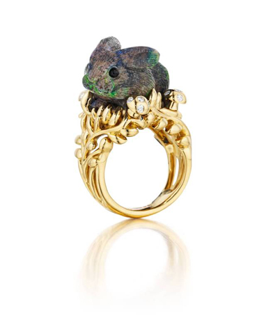 Trippy opal and gold ring by Mimi So