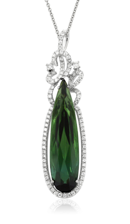 Yael 18k gold and green tourmaline pendant from the Lyra collection