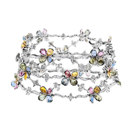 18k white gold, diamond, and sapphire bracelet from Valerie Danenberg