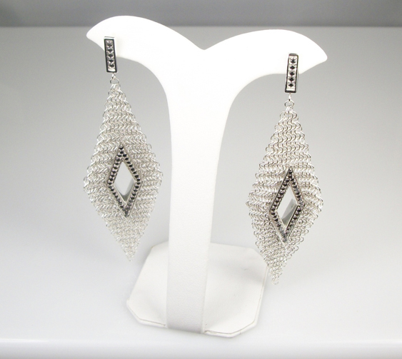 Silver and black diamond earrings by Anna Bingemann for Whiting & Davis
