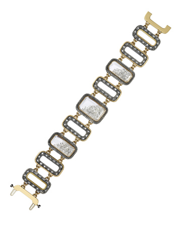 Moritz Glik diamond, silver, and 18k gold bracelet