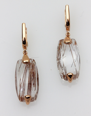 Frederic Sage pink gold earrings with rutilated quartz