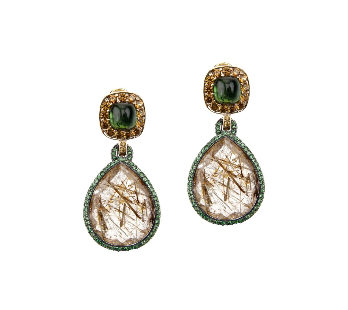 John Hardy rutilated quartz earrings in gold
