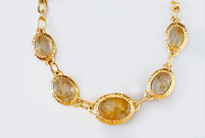Karin Jamieson 18k gold and rutilated quartz necklace