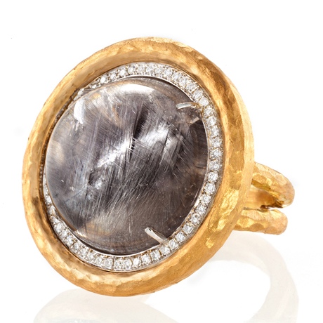 Pamela Froman rutilated quartz, gold, and diamond ring