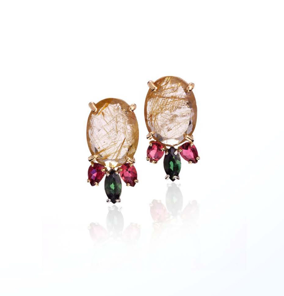 Rebekah Lea earrings in gold, tourmaline, and rutilated quartz