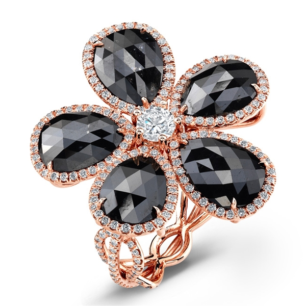 Rahaminov black kifani flower ring