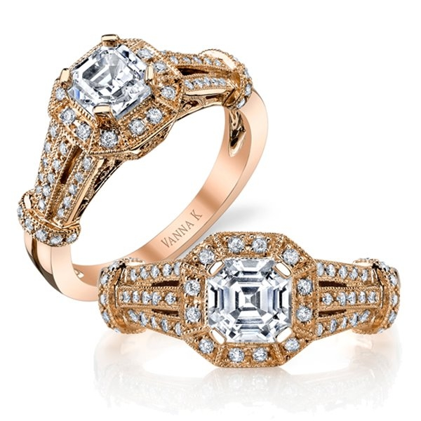 Vanna K asscher-cut diamond ring