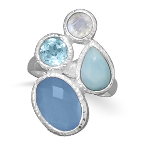 Silver Stars Collection multi-stone blue ring