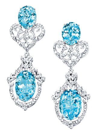 Lorenzo aquamarine and diamond earrings