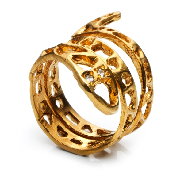 Natalie Frigo gold brass snake ring