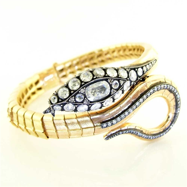 Norman Covan rose-cut diamond snake bangle