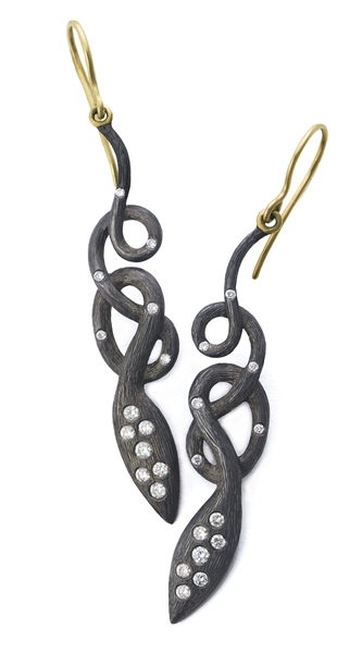Laurie Kaiser blackened silver snake earrings