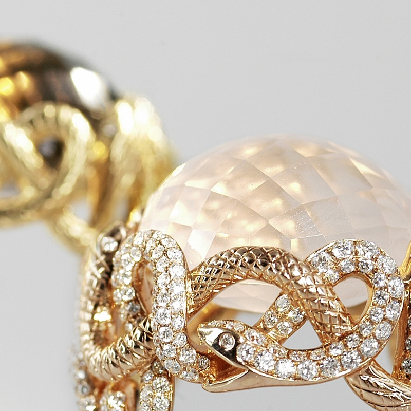 Cheng & Cheung rose quartz snake ring