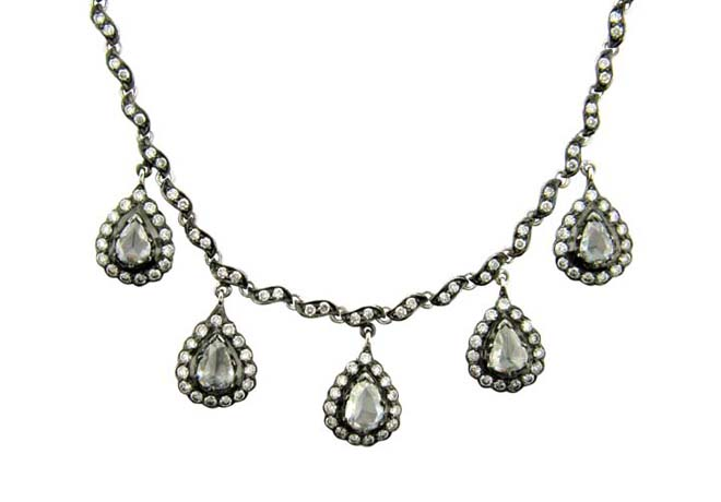 Sethi Couture Five-Drop necklace in 18k gold with black rhodium and diamonds