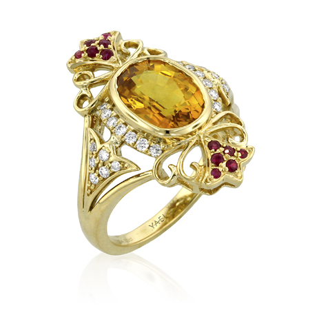 Yael Designs ring in 18k gold with yellow sapphire, rubies, and diamonds