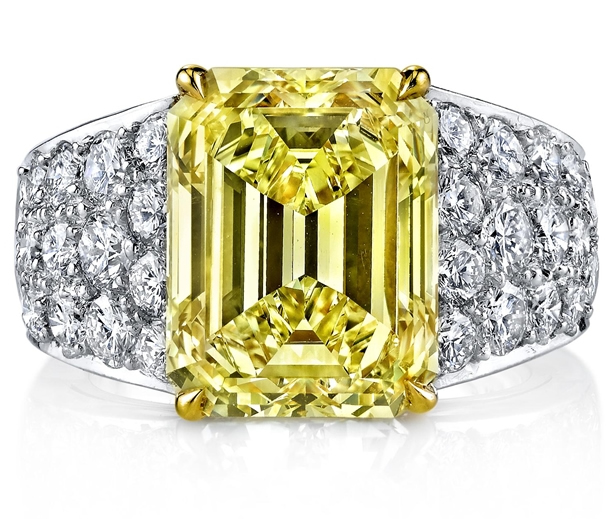 Joshua J fancy yellow emerald-cut diamond ring