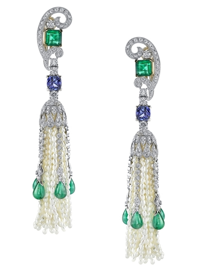 Vanna K Art Deco tassel earrings