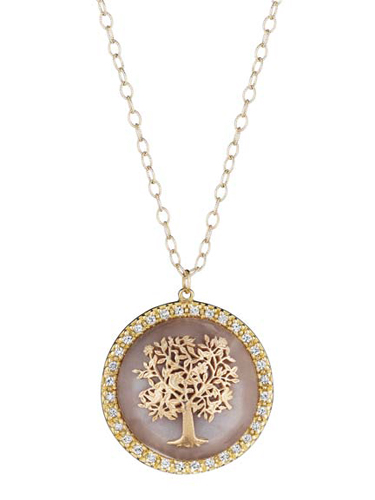 Emily & Ashley gold, moonstone, and white sapphire Tree of Life pendant necklace