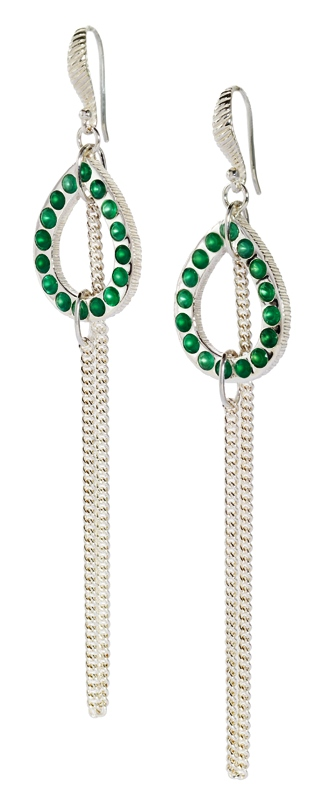 Kir Collection silver tassel earrings with green onyx