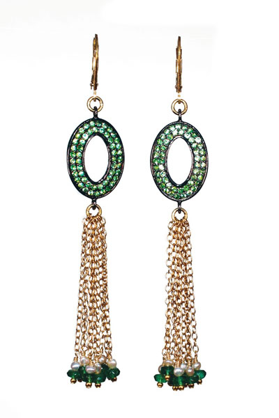 Melinda Lawton earrings in 14k gold and sterling with tsavorite, emeralds, and pearls