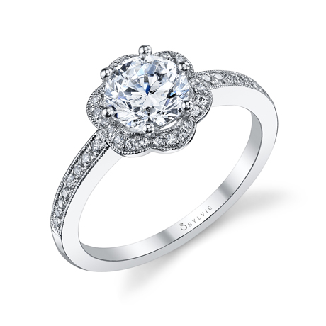 Sylvie Collection platinum floral halo ring