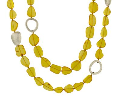 Silver and amber necklace from Yossi Harari