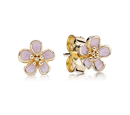 Pandora Cherry Blossom earrings in 14k gold with enamel