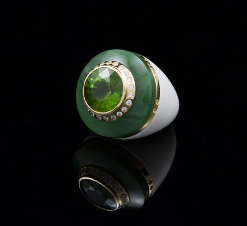Sanalitro ring in jade, agate, peridot, and 18k gold with diamonds