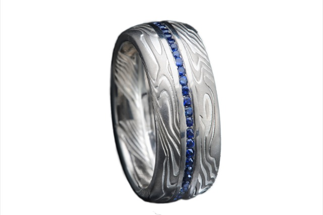 Band in palladium and silver mokame with sapphires by James Binnion
