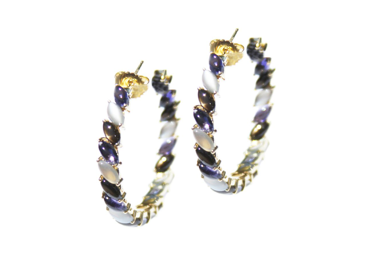 JJ Number 8 hoops in 18k gold with iolite, gray moonstone, and black star sapphire