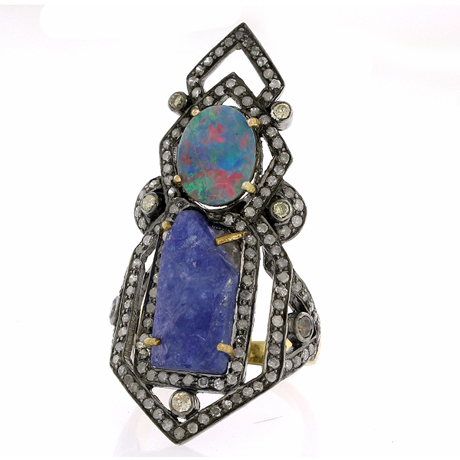 Ring with opal, tanzanite and diamonds by United Gemco
