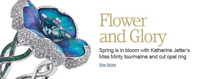 Spring is in bloom with Katherine Jetter's Miss Minty tourmaline and opal ring