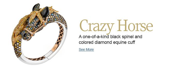 A one-of-a-kind black spinel and colored diamond equine cuff