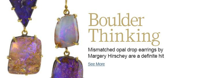 Mismatched opal drop earrings by Margery Hirschey are a definite hit