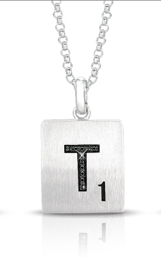 Scrabble jewelry from World Trade Jewelers is distributed exclusively by Stuller