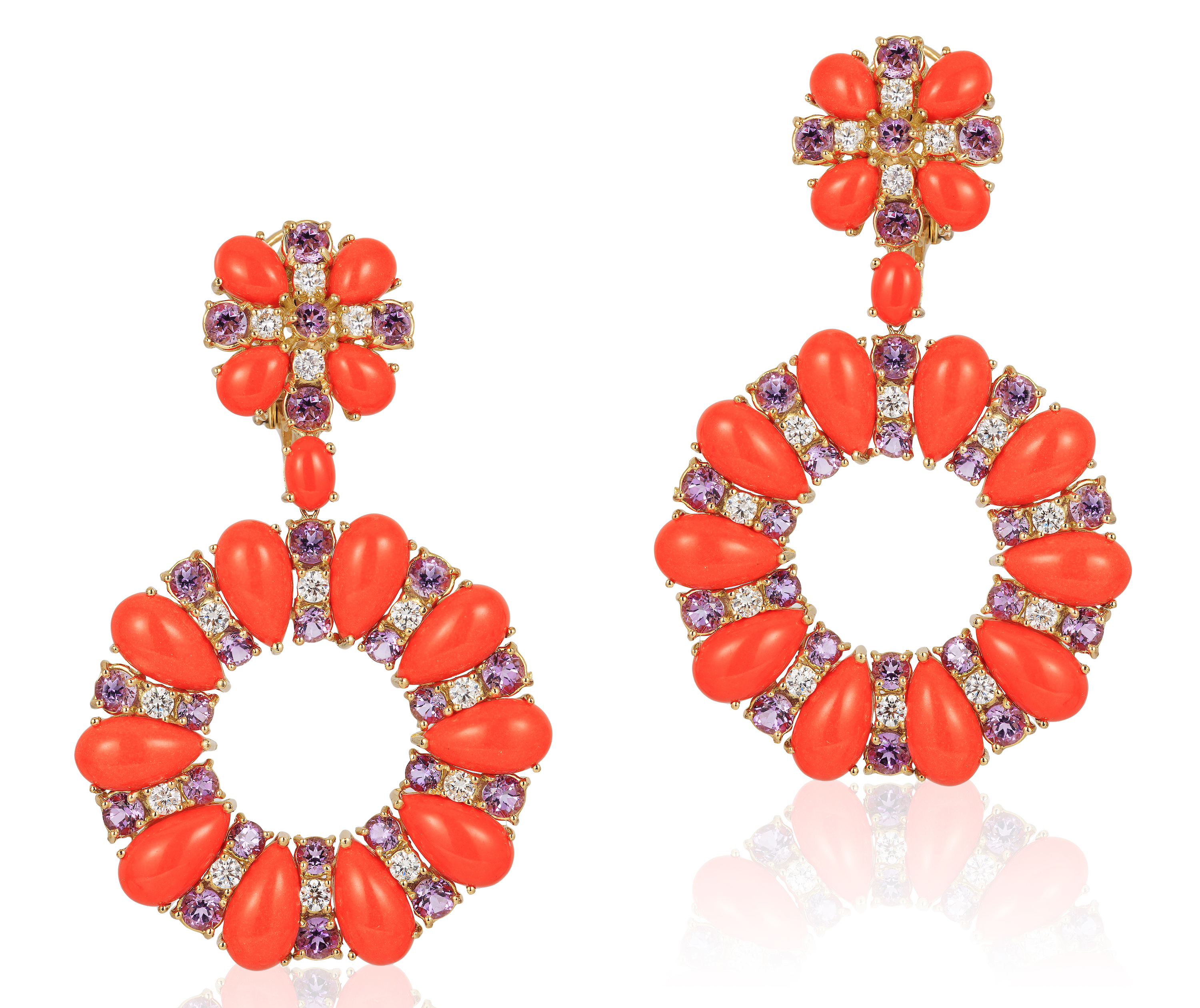 Andreoli coral and amethyst earrings | JCK On Your Market
