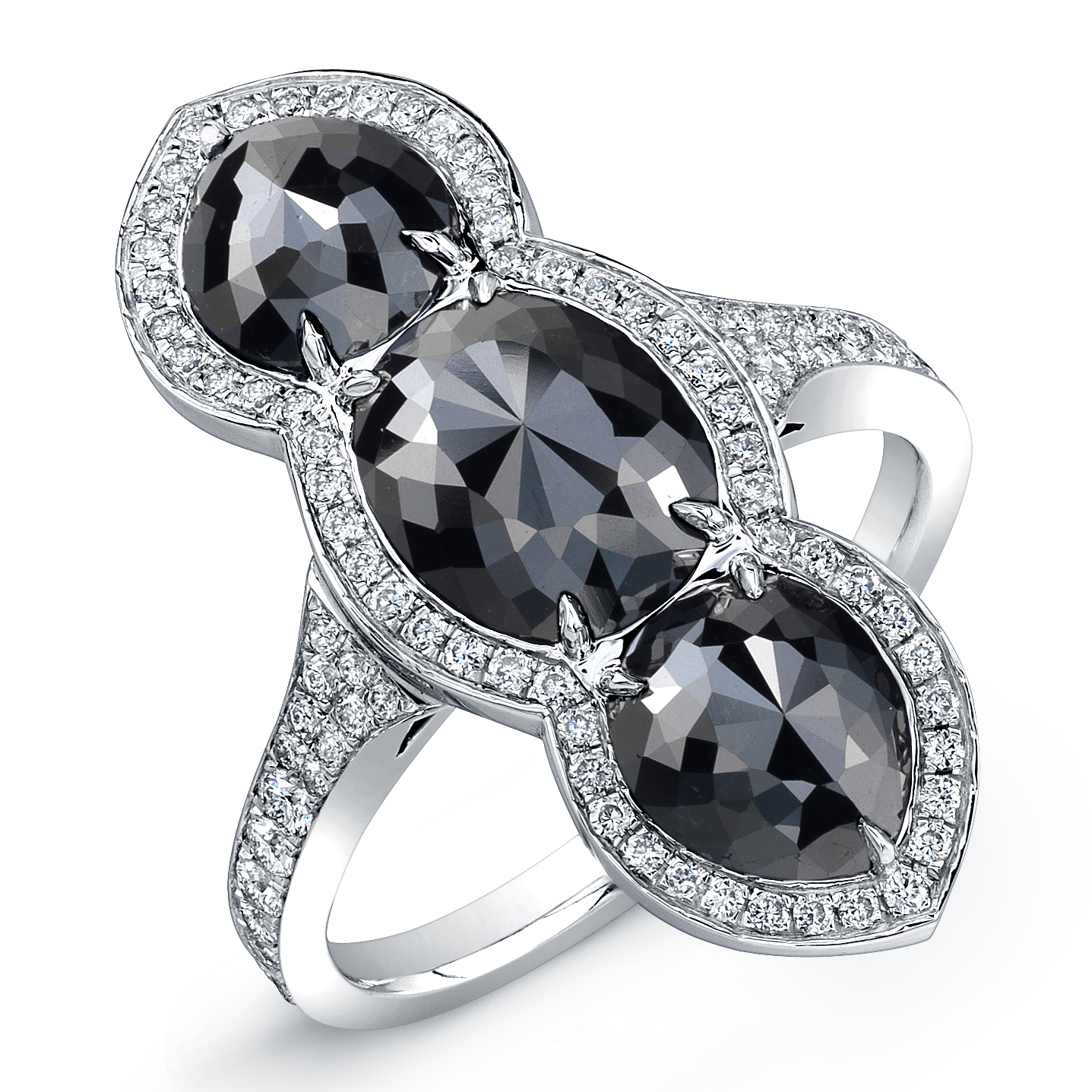 Rahaminov black diamond three-stone ring | JCK On Your Market