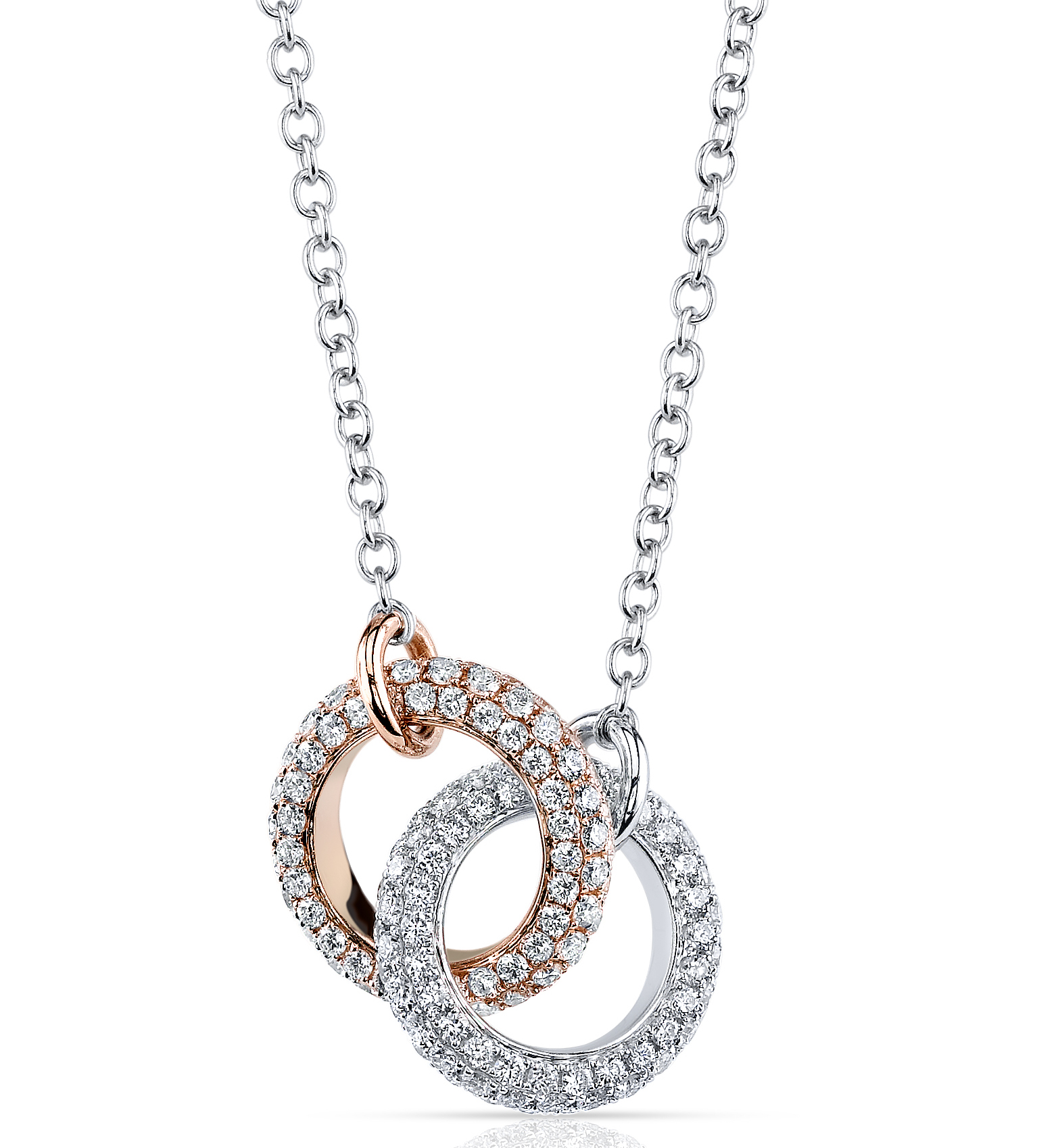 Elma Gil two-tone circle link necklace with diamonds | JCK On Your Market