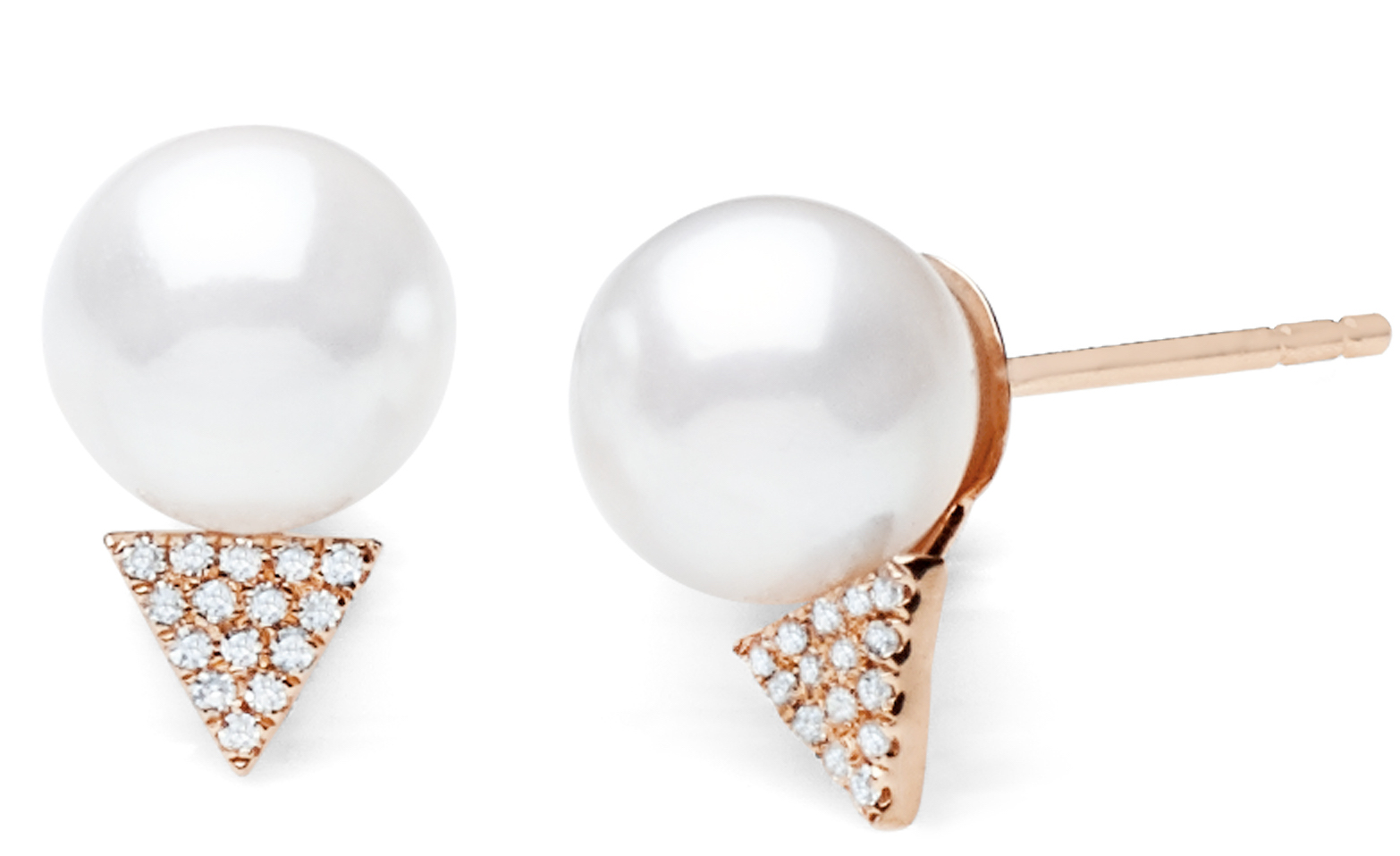 EF Collection diamond triangle and pearl stud earrings | JCK On Your Market