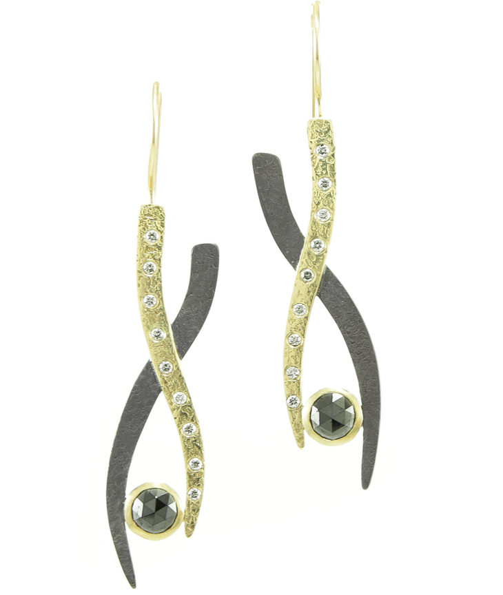 Hozoni black and white diamond drop earrings