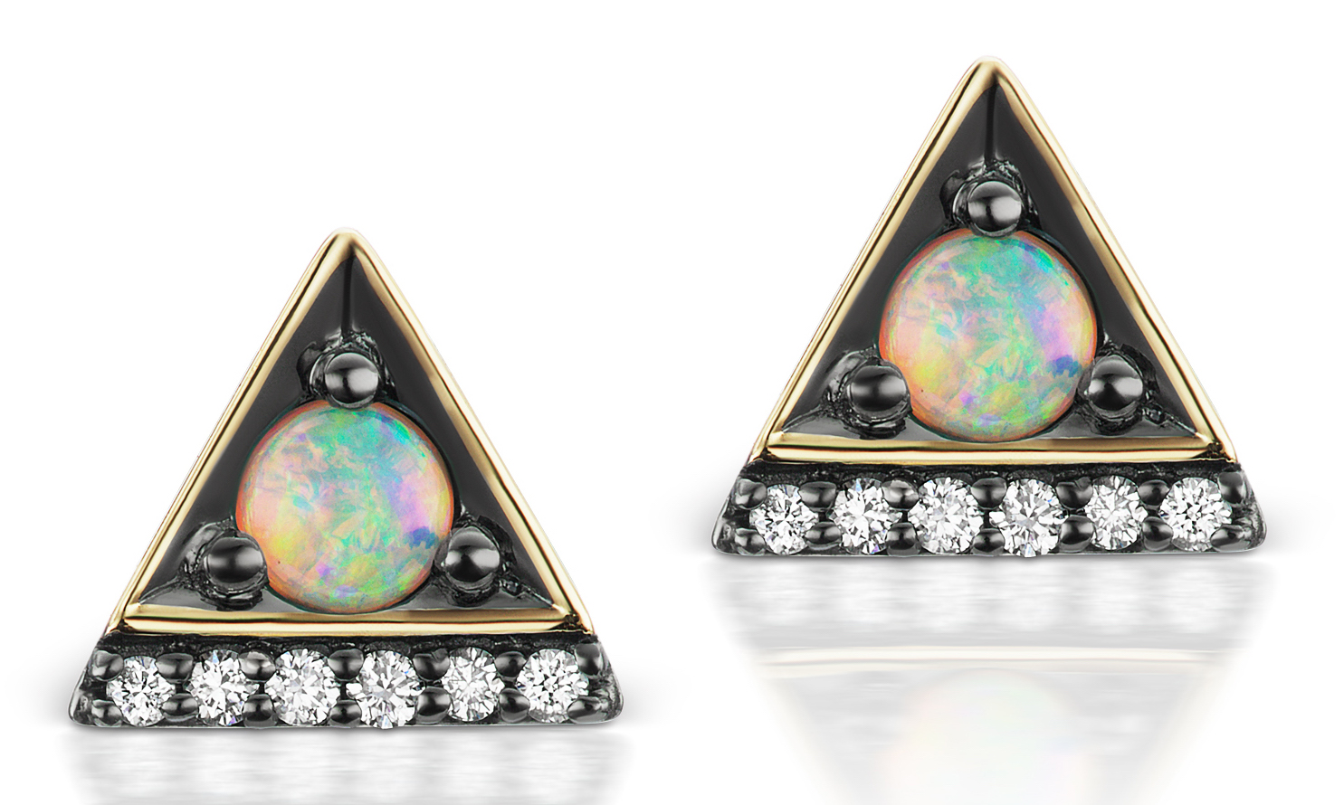 Jane Taylor Jewelry Petite Triangle stud earrings with opal | JCK On Your Market